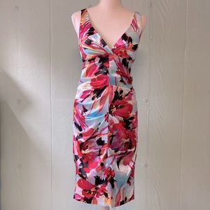 Cache Satin Flora Print Sleeveless Cocktail Dress